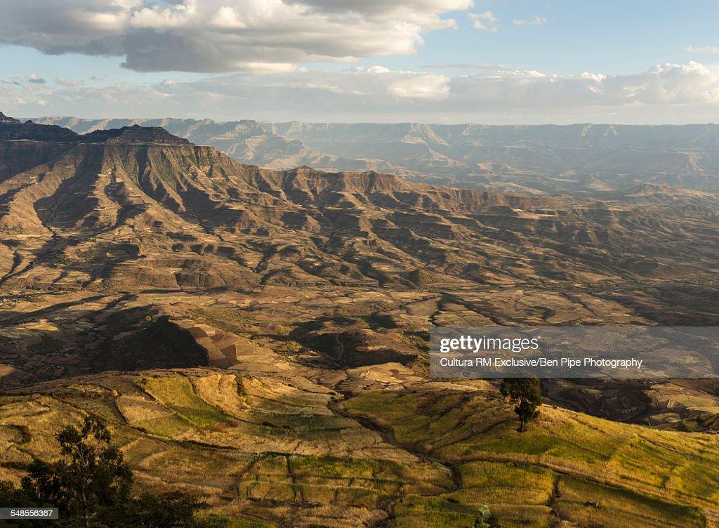 View of landscape from Ashen Maria Monastery at dusk, Lalibela, Ethiopia