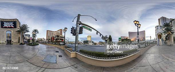 A 360 view of Las Vegas Blvd with the Treasure Island Casino Trump Tower and The Wynn Casino visible on the Las Vegas strip early morning December 4...