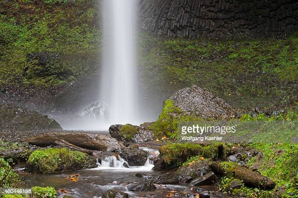 View of Latourell Falls a waterfall near Portland along the Columbia River Gorge in Oregon USA within Guy W Talbot State Park