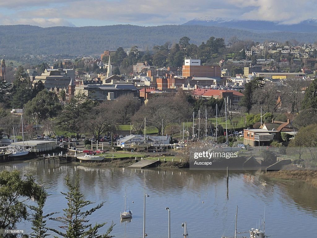 View of Launceston over the Tamar Riverin midwinter Tasmania Australia