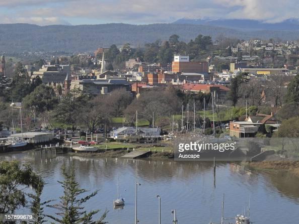 View of Launceston over the Tamar Riverin midwinter Tasmania Australia