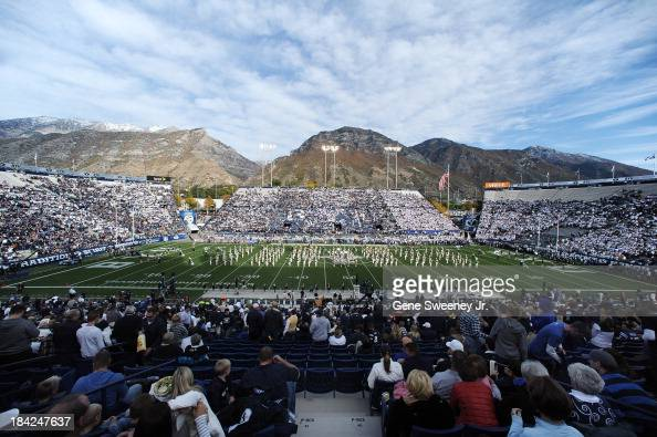 View of LaVell Edwards Stadium during ceremonies before the game between the BYU Cougars and the Georgia Tech Yellow Jackets October 12 2013 in Provo...