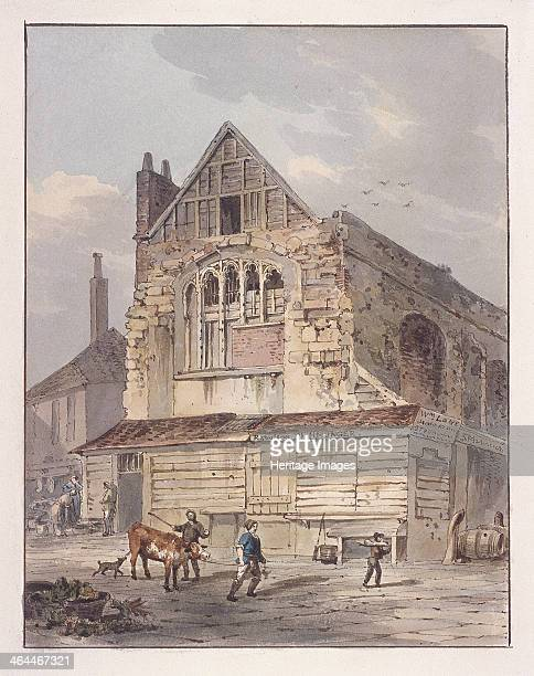 View of Leadenhall Chapel London prior to demolition c1810 with Rawlson fishmonger in front Also showing figures in street including one leading a...