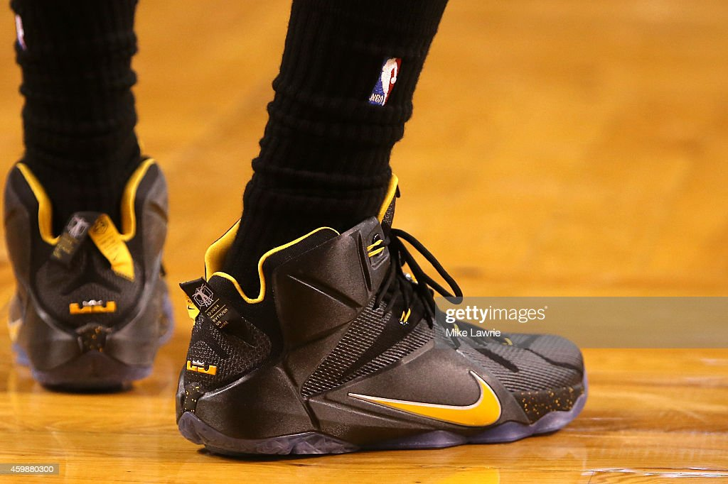 A view of LeBron James of the Cleveland Cavaliers' Nike sneakers against the Boston Celtics at TD Garden on November 14 2014 in Boston Massachusetts...
