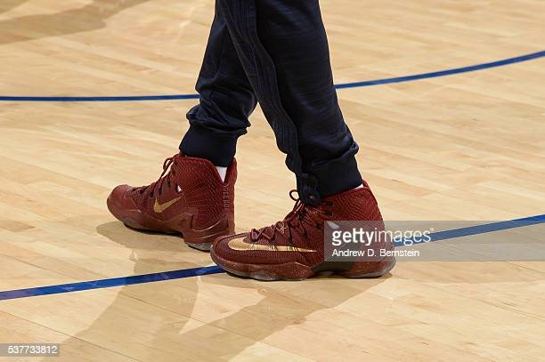 A view of LeBron James of the Cleveland Cavaliers sneakers against the Golden State Warriors during Game One of the 2016 NBA Finals on June 2 2016 at...