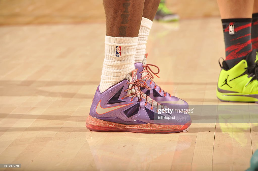 A view of LeBron James #6 of the Eastern Conference All-Stars shoes during the 2013 NBA All-Star Game presented by Kia on February 17, 2013 at the Toyota Center in Houston, Texas.