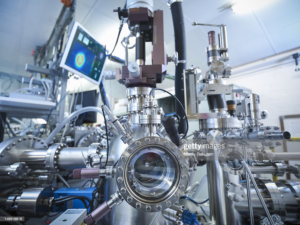 View of LEED (low-energy electron diffraction) instrument in materials science laboratory