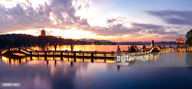 View Of Leifeng pagoda in the sunset,Hangzhou