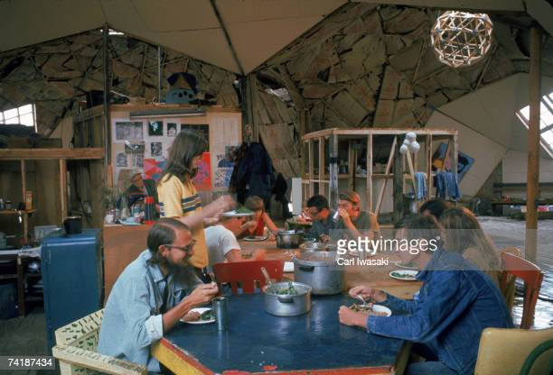 View of life inside 'Drop City' an experimental counterculteral community based around cheaply constructed geodesic dome structures Trinidad Colorado...