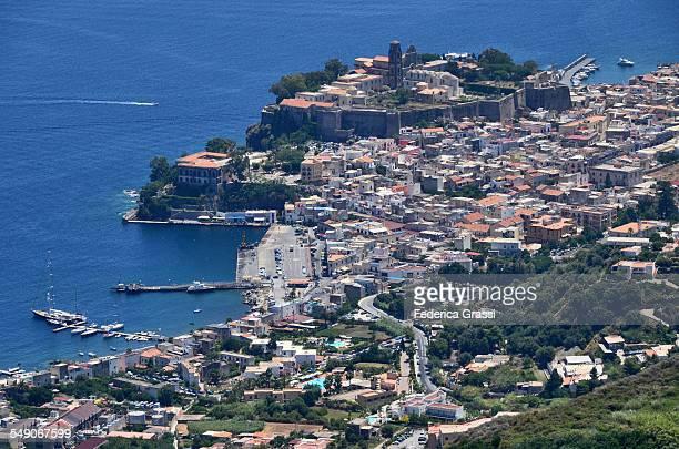 View of Lipari Castle and Harbor