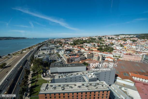 View of Lisbon and Tagus River from the viewpoint at 80 meters over street level of Pier 7 of 25 de Abril bridge site of the 'Experiencia Pilar 7' an...