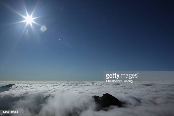 A view of Lliwedd Mountain from the summit of Mount Snowdon on May 29 2012 in Llanberis United Kingdom Legendary mountaineer Sir Chris Bonington aged...