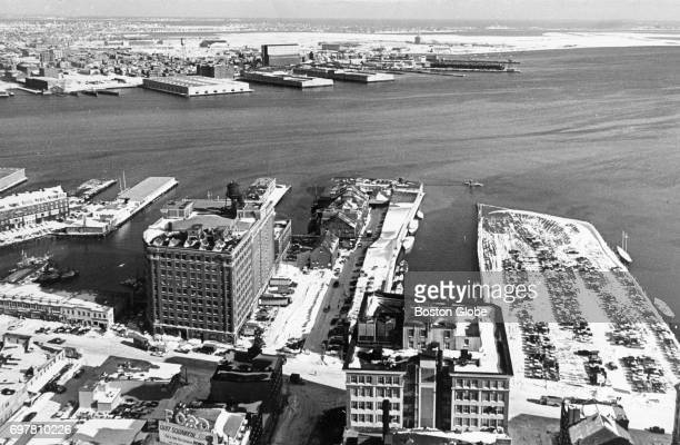 A view of Logan Airport from the Custom House in Boston Jan 14 1964