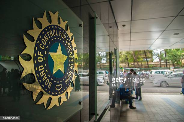 A view of logo of the Board of Control for Cricket in India during a Council meeting of the Indian Premier League at BCCI headquarters on July 19...