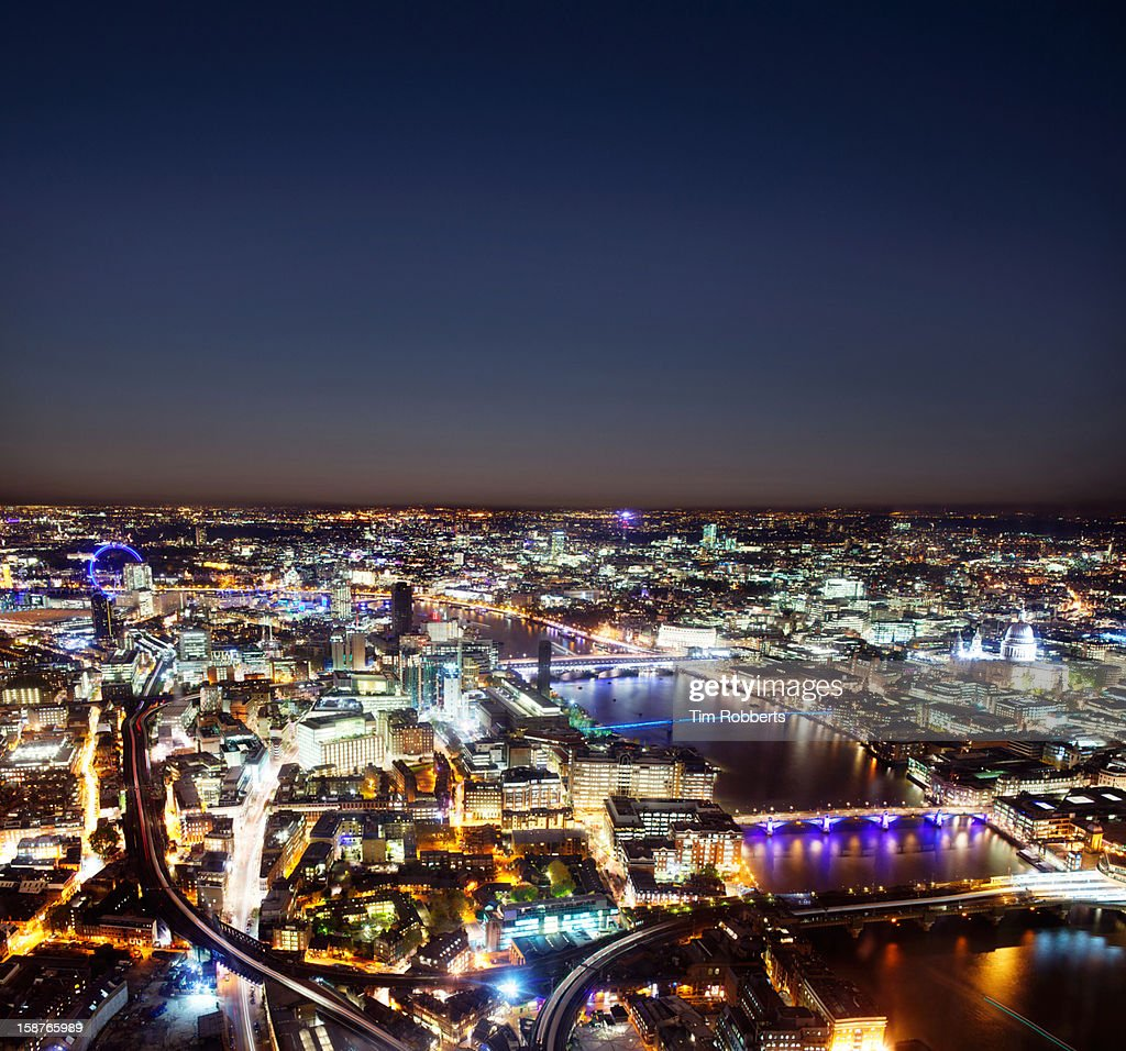View of London at night, looking west. : Stock Photo