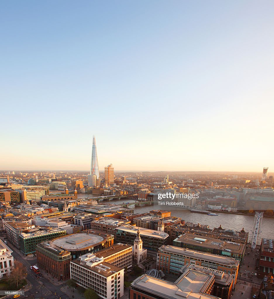 View of London offices and The Shard. : Stock Photo