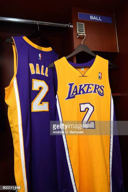 A view of Lonzo Ball of the Los Angeles Lakers jerseys following a press conference to introduce Los Angeles Lakers 2017 NBA Draft picks in El...