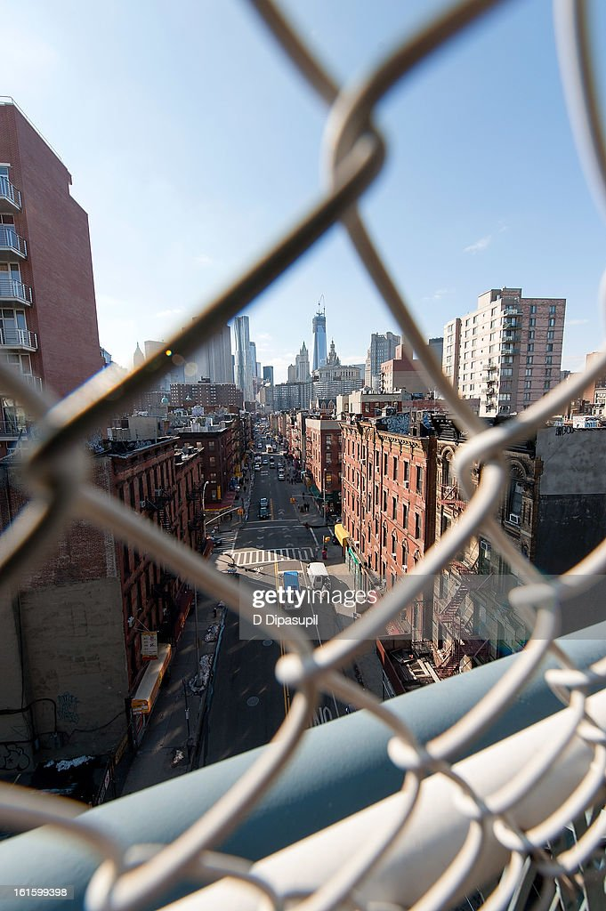 A view of lower Manhattan as viewed from the Manhattan Bridge on February 12, 2013 in New York City.