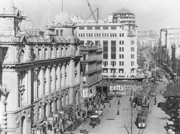 A view of lower Queen's Street in Auckland New Zealand