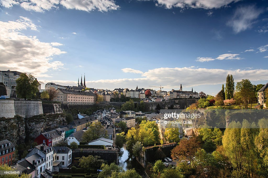 View of Luxembourg skyline at sunset
