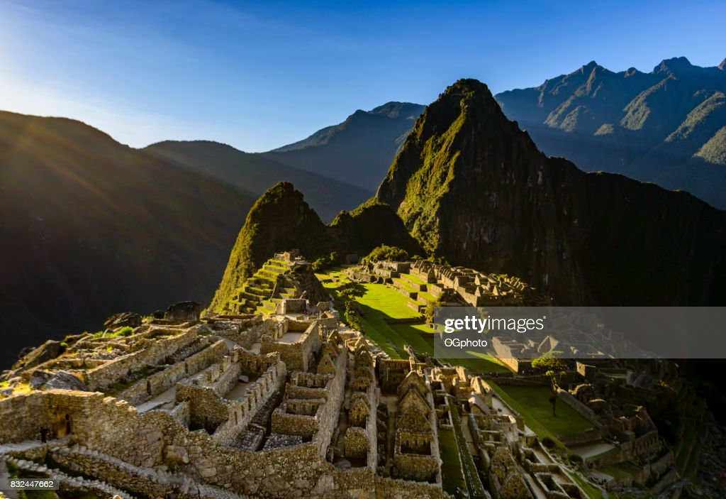 View of Machu Picchu as seen from the Inca Trail : Stock Photo
