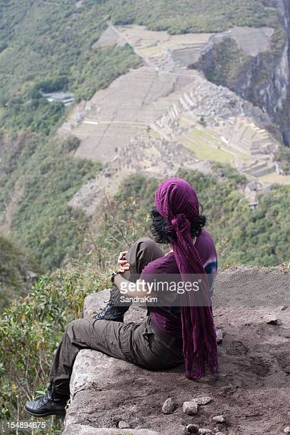 View of Machu Picchu with Woman