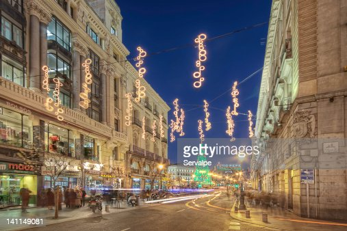 View of Madrid city in Christmas : Stock Photo