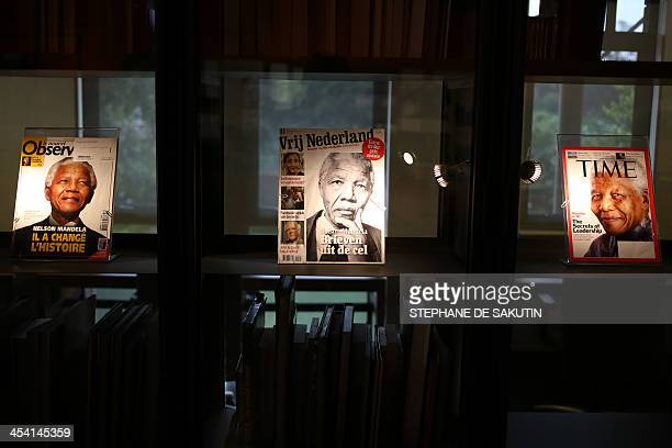 View of magazine's front pages showing South African former president Nelson displayed at the Nelson Mandela Foundations Centre of Memory in Houghton...