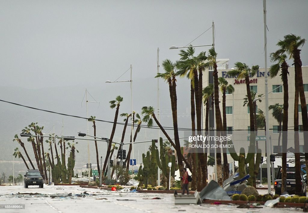 View of main road leading to Cabo San Lucas seen after hurricane Odile knocked down trees and power lines in the city in Mexico's Baja California...