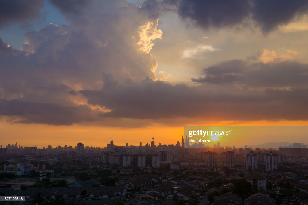 View of majestic sunset over downtown Kuala Lumpur, Malaysia : Stock Photo