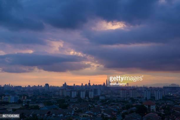 View of majestic sunset over downtown Kuala Lumpur, Malaysia