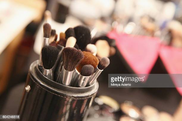 A view of makeup brushes backstage before the Raul Penaranda fashion show during Style360 NYFW September 2016 at Metropolitan West on September 13...