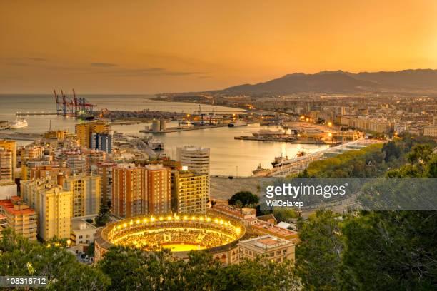 View of Malaga at twilight