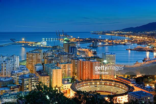 View of Malaga at twilight