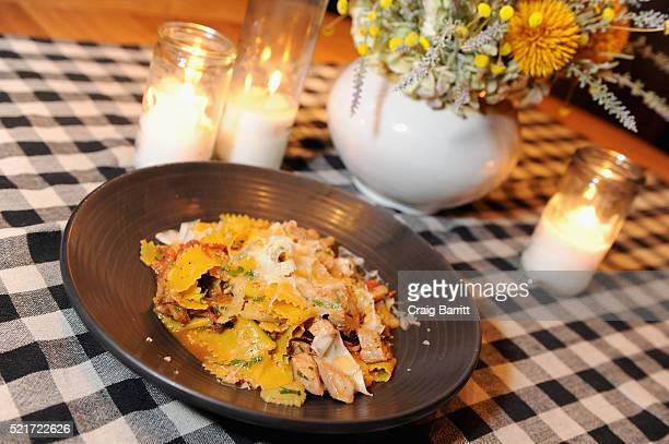 View of maltagliati braised veal smoked cabbage braised celery and green peppercorn at The 8th Annual New York Culinary Experience Private Dinner...