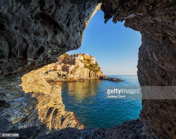 View of Manarola from a cave. Manarola, Cinque Terre, La Spezia, Liguria