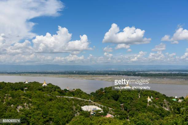 View of Mandalay city and Irrawaddy river from top of mountain