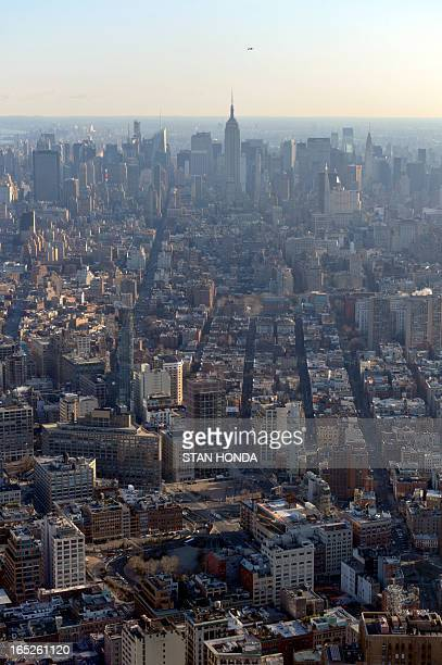 A view of Manhattan looking north as officials from the Durst Organization Legends Hospitality LLC and the Port Authority of New York New Jersey give...