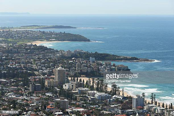 A view of Manly Freshwater and Curl Curl beach from the Appliances Online blimp on April 28 2016 in Sydney Australia The Appliances Online blimp is...
