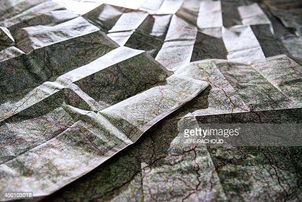 A view of maps taken in Lyon on June 5 2014 The French government announced on June 2 2014 a territorial reform The French president proposed to...