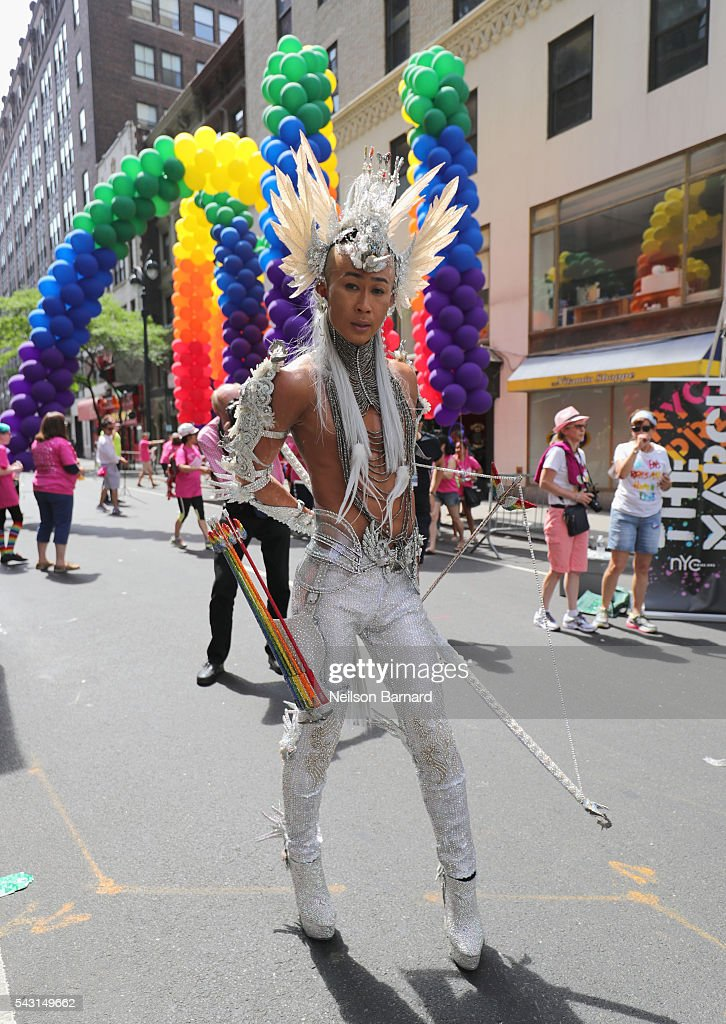 A view of marchers during the New York City Pride 2016 march on June 26, 2016 in New York City.