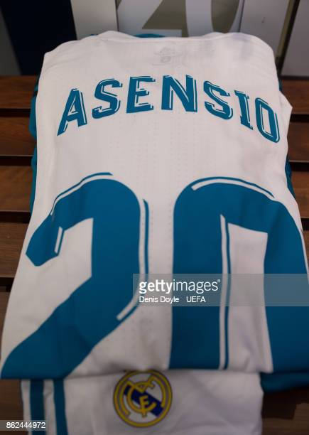 View of Marco Asensio's shirt in the Real Madrid dressing room ahead of the UEFA Champions League group H match between Real Madrid and Tottenham...