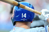A view of Mark Ellis of the Los Angeles Dodgers' helmet early in the game against the Atlanta Braves during Game Two of the National League Division...