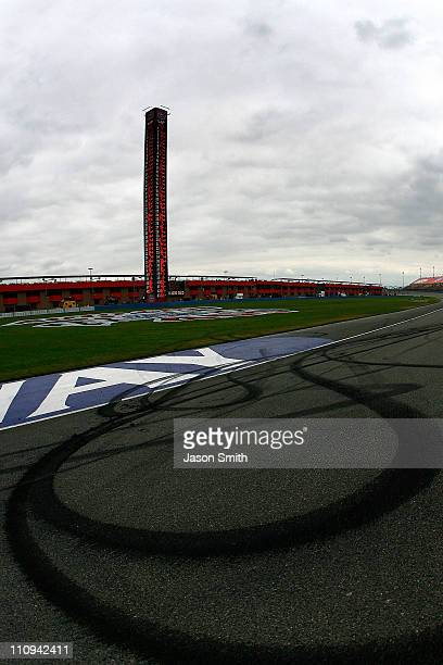 A view of marks from the burnout performed by Kevin Harvick driver of the Jimmy John's Chevrolet after winning the NASCAR Sprint Cup Series Auto Club...