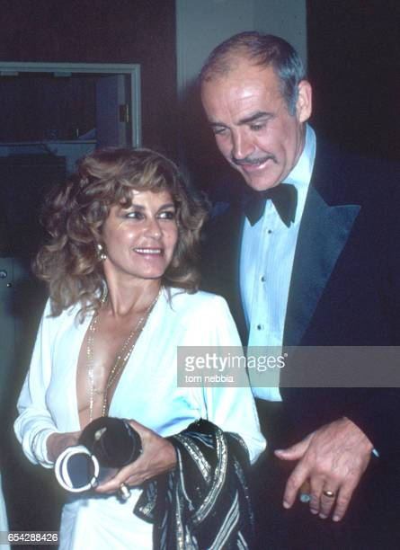 View of married couple Moroccanborn painter Micheline Roquebrune and Scottish actor Sean Connery as they attend an unidentified event Hollywood...