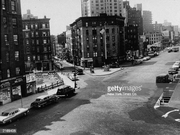 View of McCarthy Square looking south on Seventh Ave from the roof of the Village Vanguard nightclub in Greenwich Village New York City 1960s