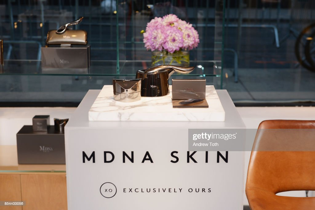 A view of MDNA Skin products as Barneys New York celebrates the launch of MDNA Skin at Barneys New York on September 26, 2017 in New York City.