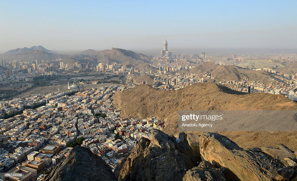 A view of Mecca from al-Noor mountain (Jabal al-Nour) where the Hira cave is located on September 28, 2014 in Saudi Arabia.