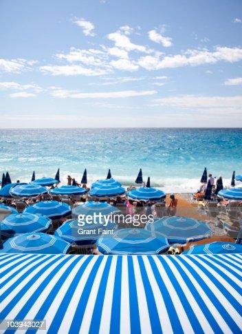 View of Mediterranean and beach umbrellas