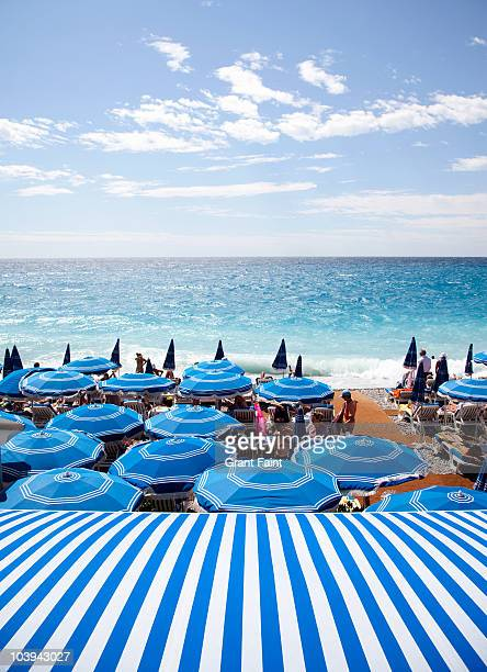 View of Mediterranean and beach umbrellas